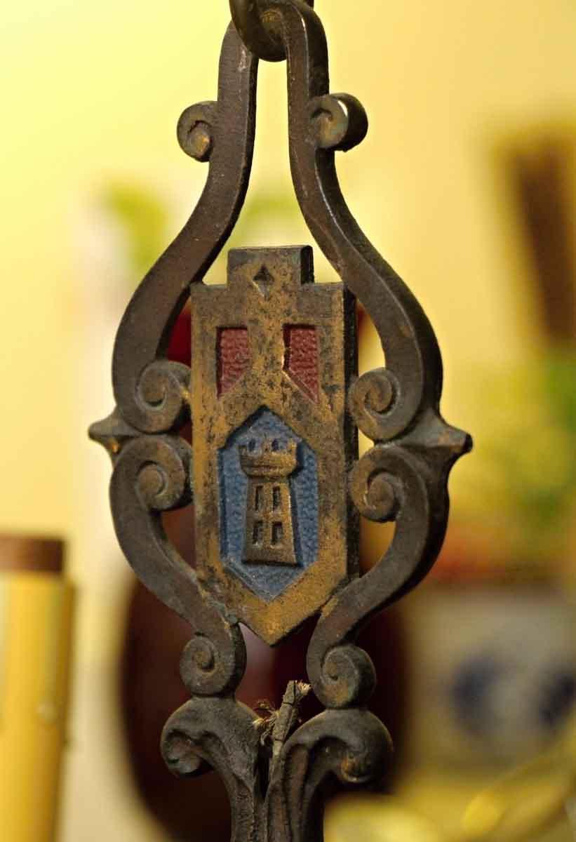 Five Light Spanish Revival Wrought Iron Chandelier Olde