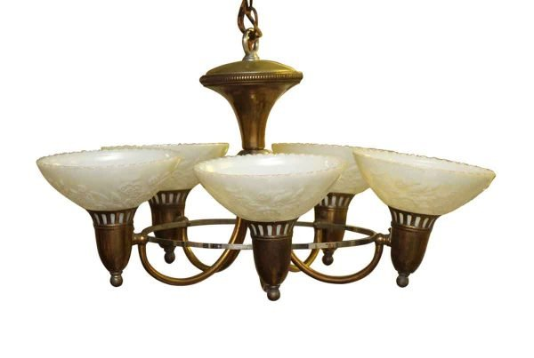 1930s Art Deco Five Light Chandelier with Floral Glass