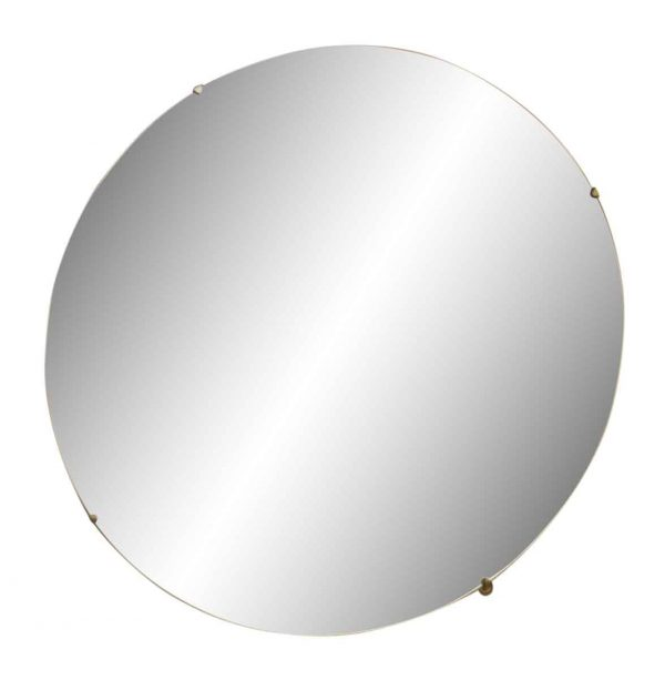 Beveled Straight Edges Round Mirror