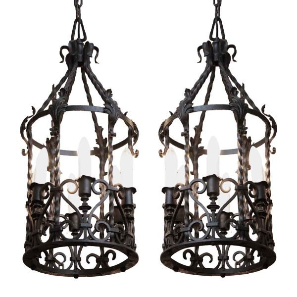 1920s French Wrought Iron Lanterns with Bronze Details
