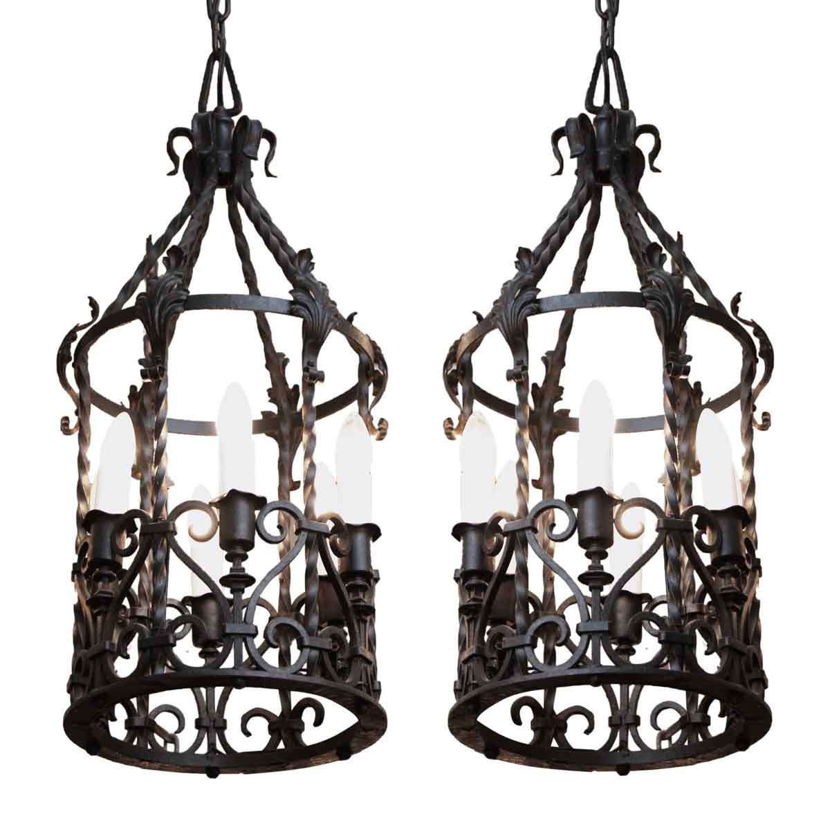 1920s french wrought iron lanterns with bronze details olde good 1920s french wrought iron lanterns with bronze details aloadofball Image collections