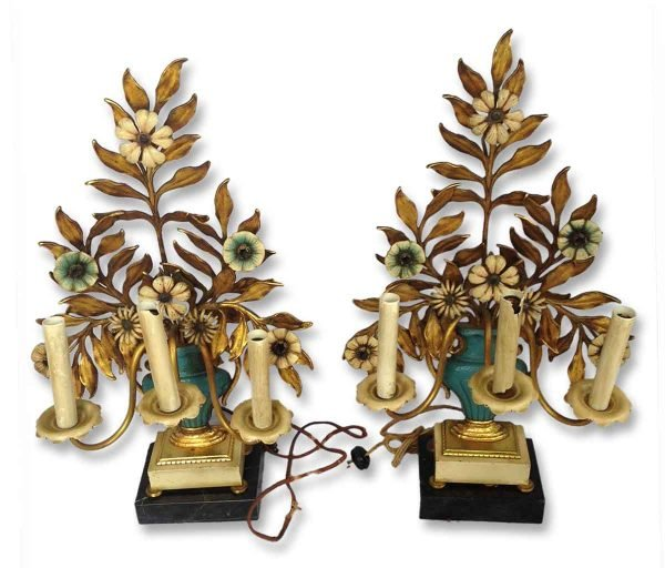 Pair of Floral Bronze Gilded & Painted Table Lamps