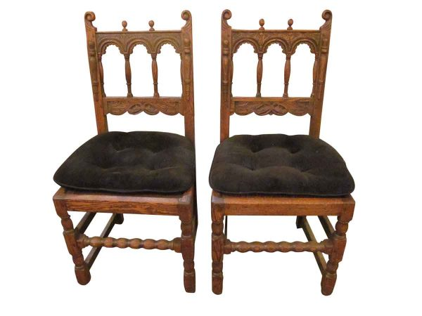 Pair of Carved Solid Wood Chairs