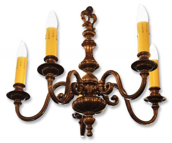 Colonial Five Arm Bronze Chandelier