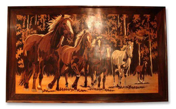 Inlaid Wood Portrait of Horses