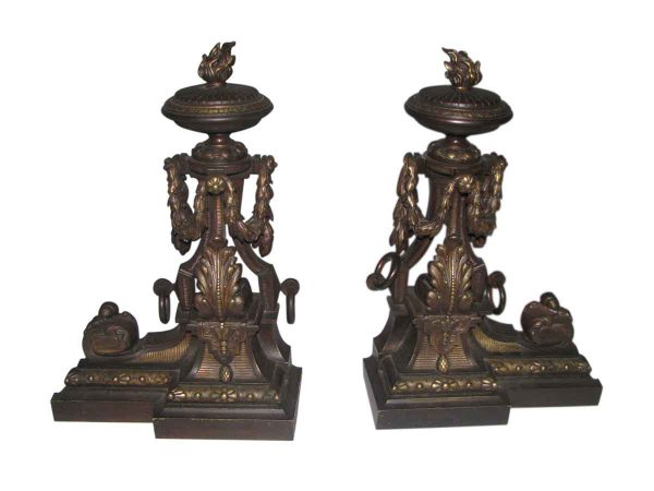Ornate Bronze Andirons with Flame Finials