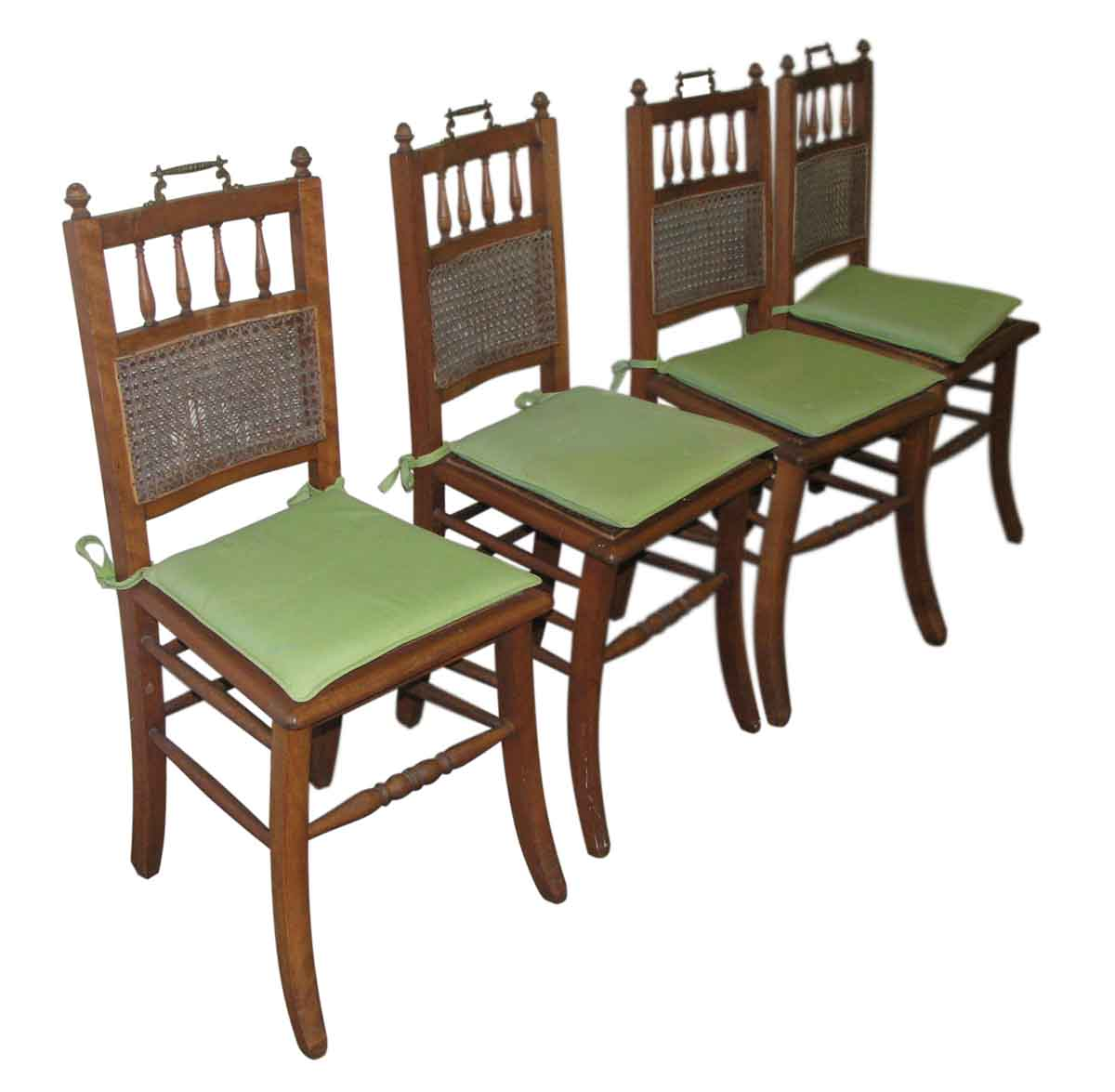 Set Of Four Wooden Chairs With Ornate Hardware Olde Good