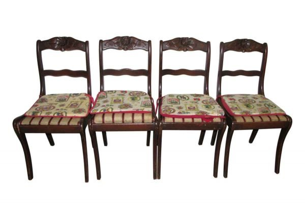 Set of Four Carved Cherry Dining Chairs