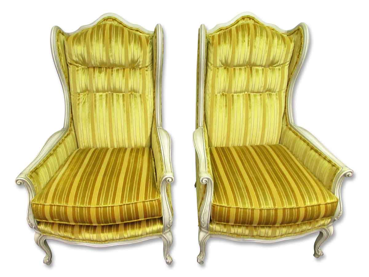 Pair of yellow velvet art nouveau chairs olde good things for Pair of chairs for living room