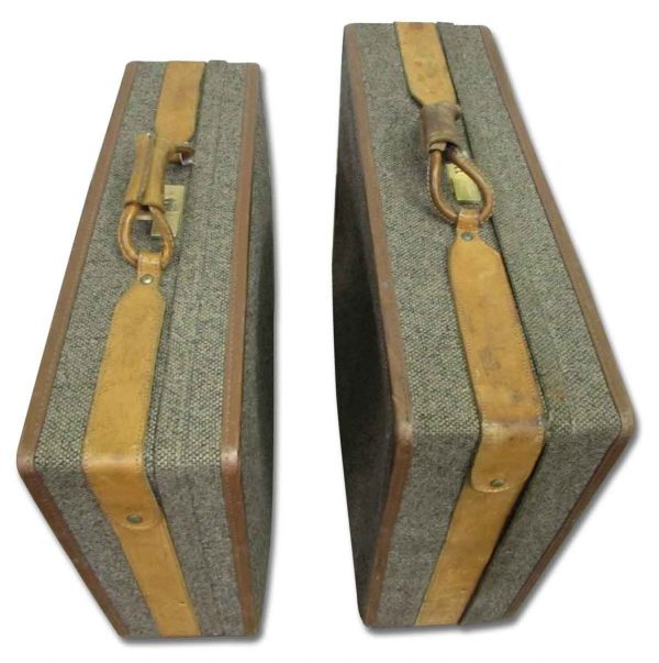 Set of Two Tweed Suitcases