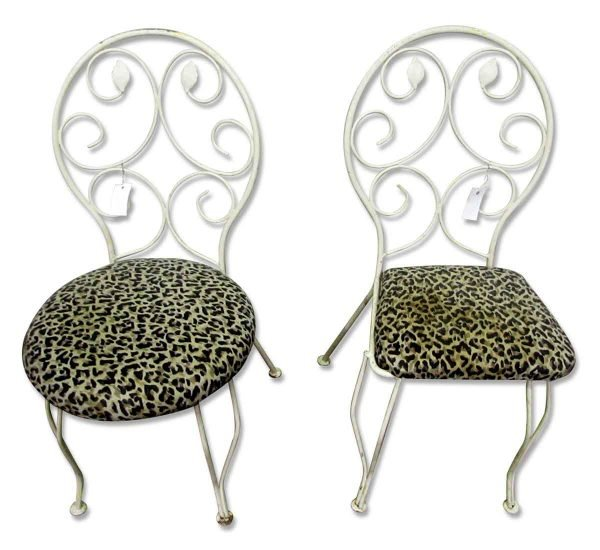 White Iron Chairs with Leopard Seats