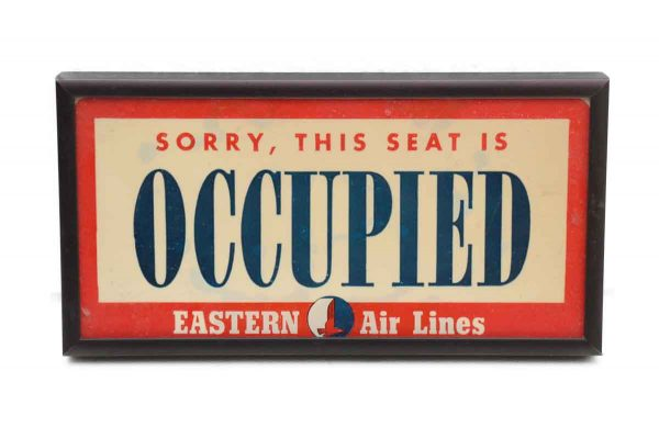 Vintage Eastern Air Lines Occupied Sign