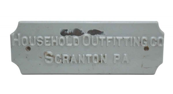 Porcelain Household Outfitting Co. Scranton Pa Sign