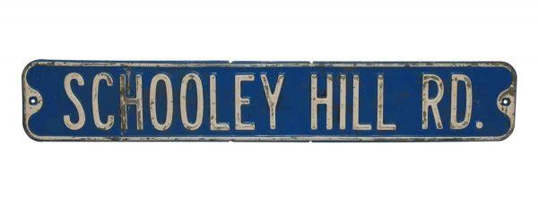 Vintage Blue Metal Road Sign