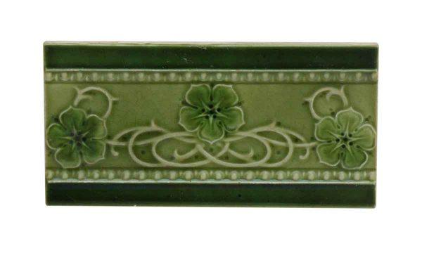 Green Vintage Floral Accent Tile