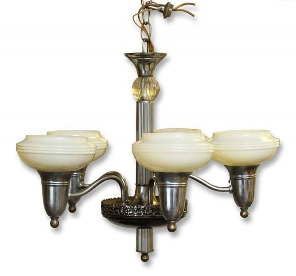 Vintage Five Arm Deco Chandelier with Glass Shades