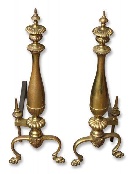 Pair of Antique Brass Andirons