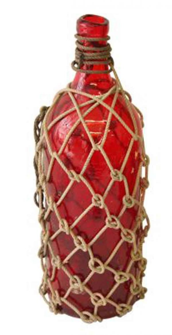 Red Glass Rope Bottle