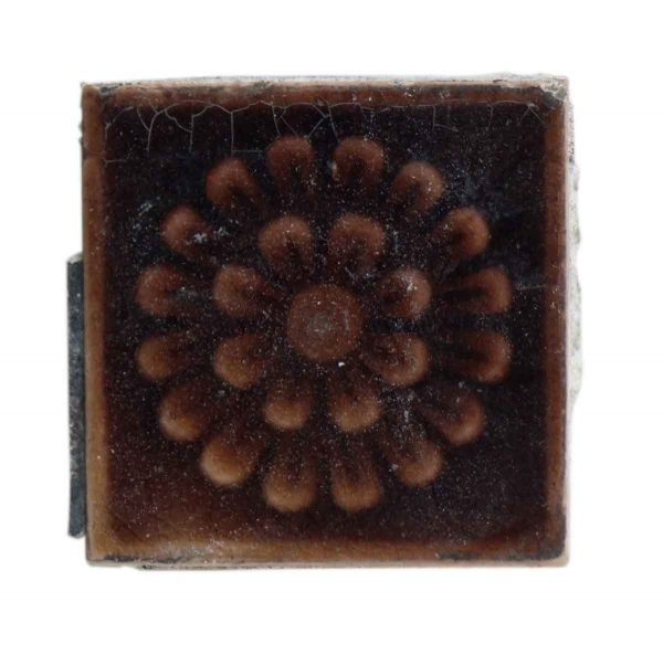 Small Square Brown Floral Tile