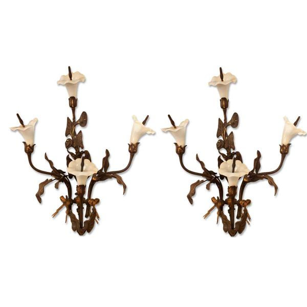 Pair of Art Nouveau Bronze Gas Floral Sconces