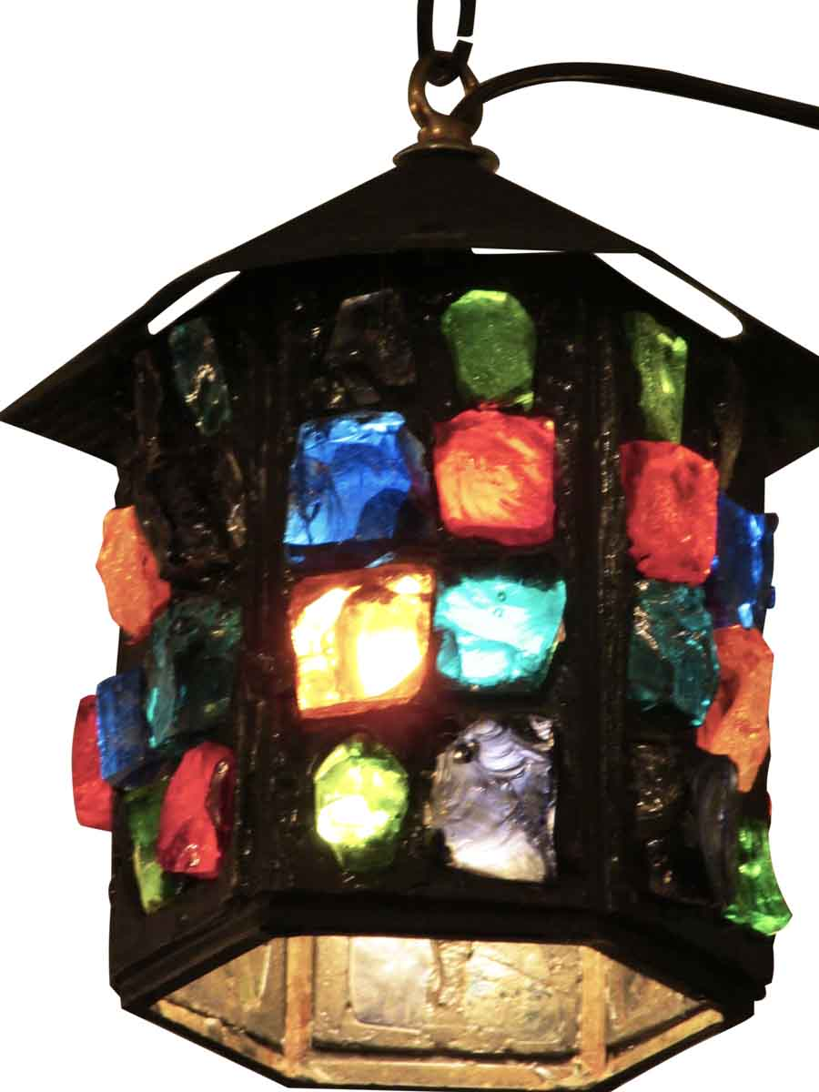 Multi Colored Chunky Glass Hanging Lantern Olde Good Things