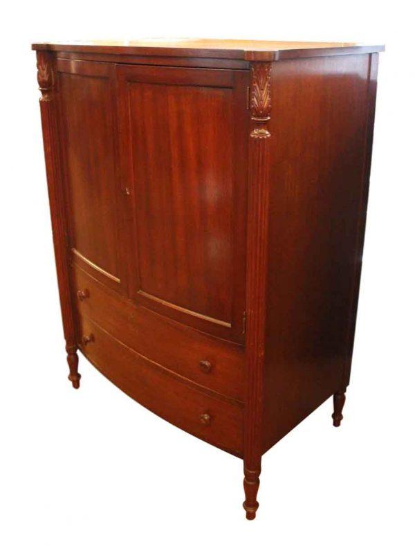 Vintage Wood Dresser with Carved Columnar