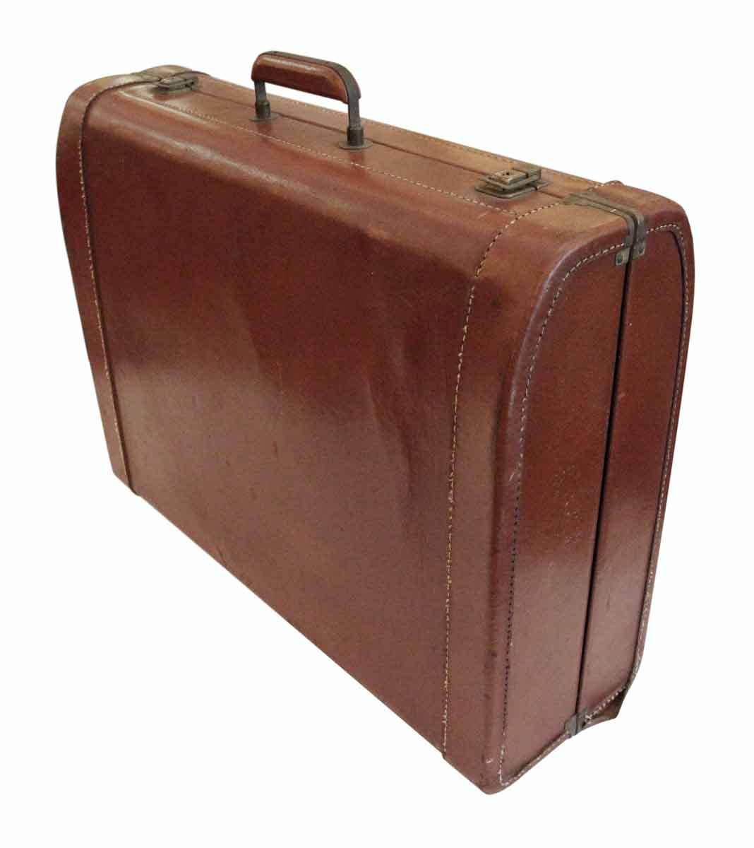 Vintage Leather Suitcase With Stitching Olde Good Things