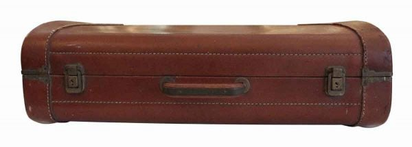 Vintage Leather Suitcase with Stitching