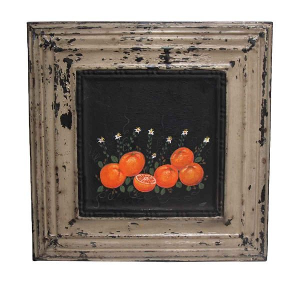 Hand Painted Orange Still Life Tin Panel