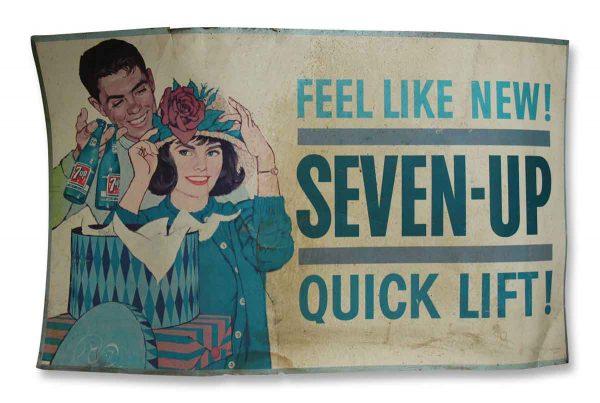 Vintage 7up Cardboard Poster