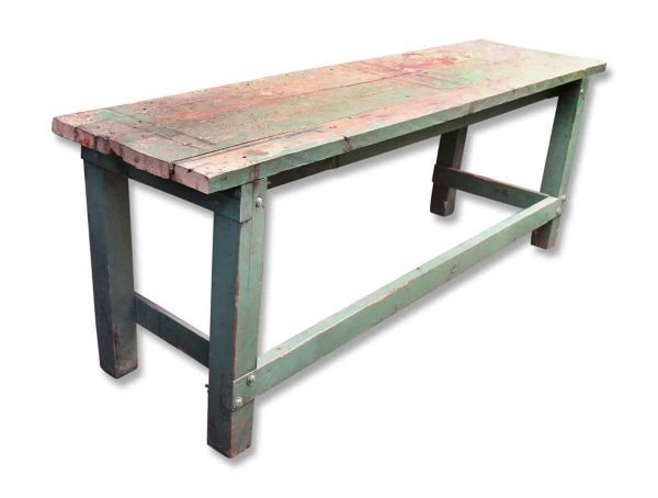 Worn Green Wooden Table
