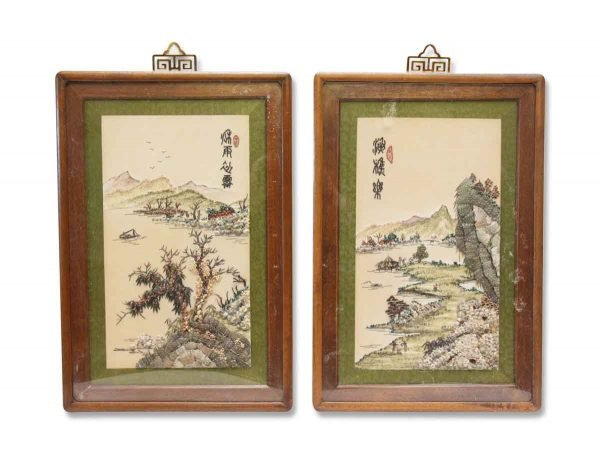 Pair of Oriental Wood Framed Seashell Relief Pictures
