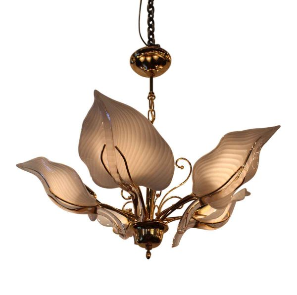 1970s Murano Glass Five Leaf Chandelier