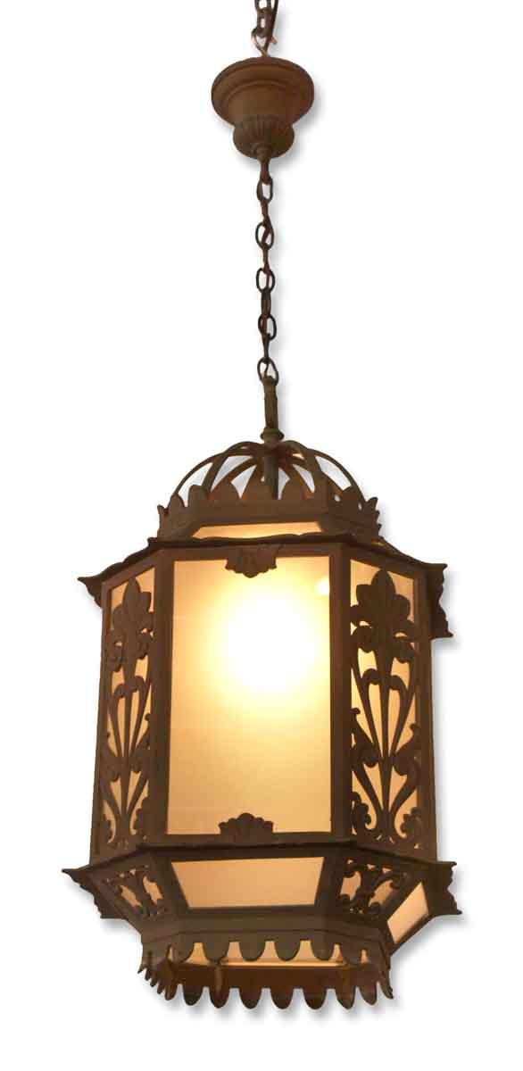 Pair of Art Deco Exterior Bronze Pendant Lanterns