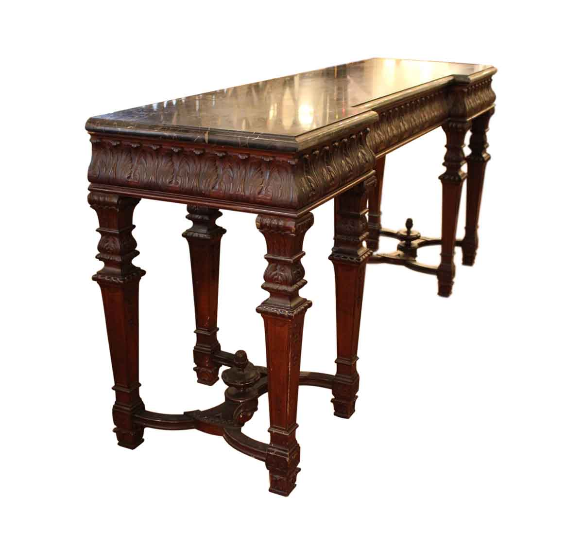 Th century carved wood console table with marble top