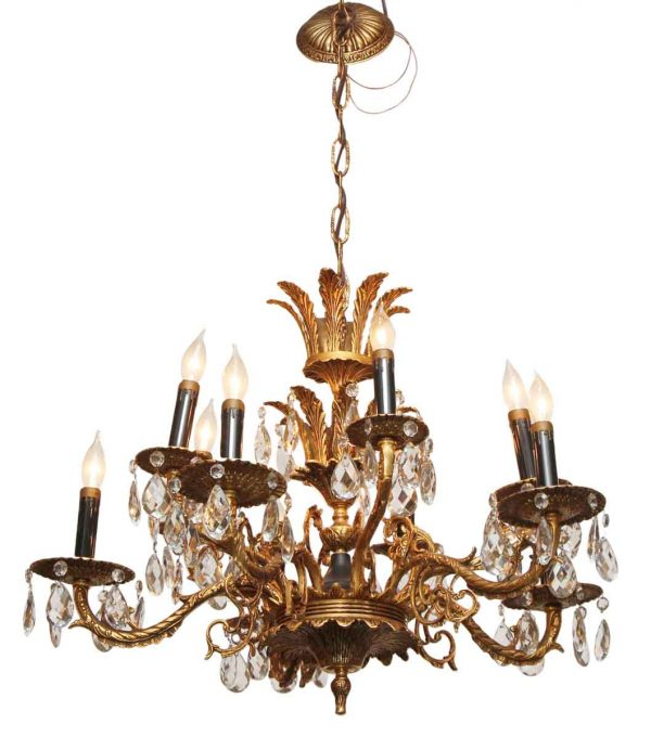 Ten Light Ornate Chandelier with Crystals