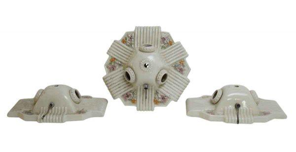 Set of Three Porcelain Floral Fixtures