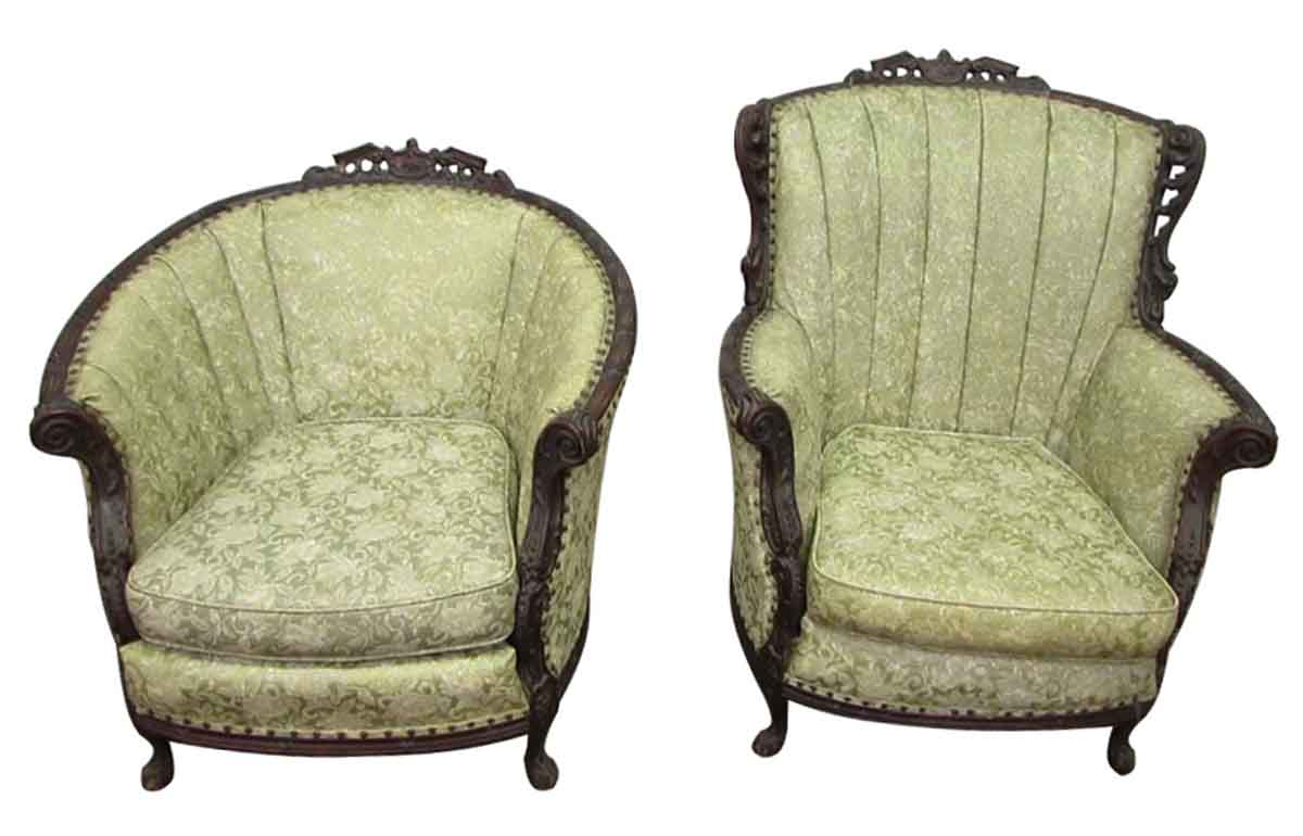 Victorian floral chair set olde good things - Antique victorian living room set ...