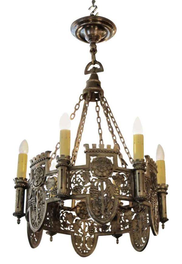 Beautifully Detailed Six Light Bronze English Tudor Chandelier