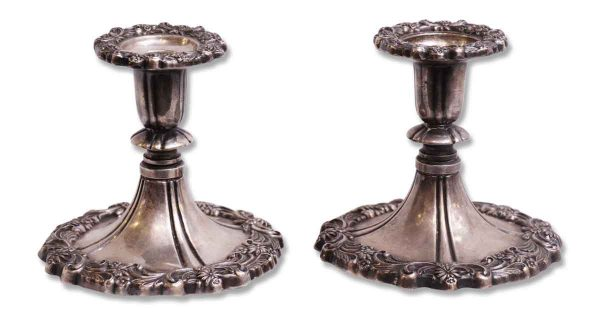 Silver Plated Bronze Candle Holders