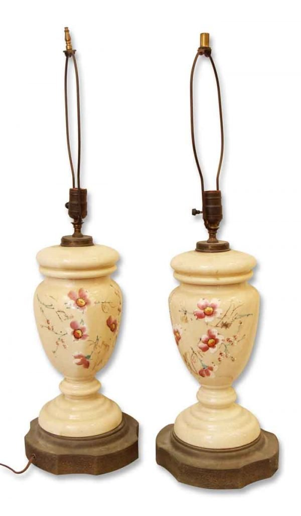 Pair of Pretty Porcelain Floral Lamps
