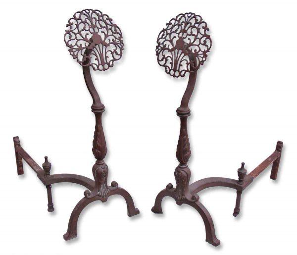 Floral Bronze Andirons
