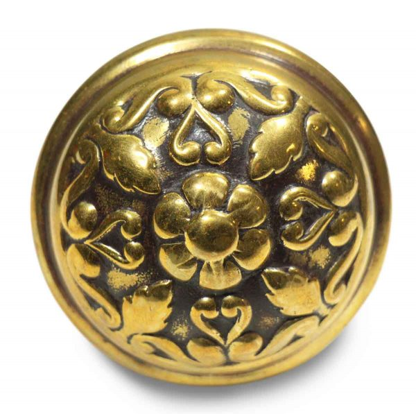 Collector's Quality Floral Brass Round Knob
