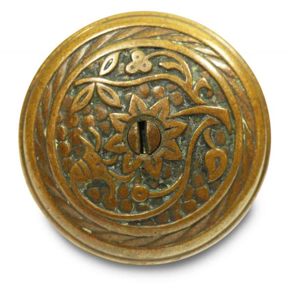 Collector's Quality Floral Ornate Bronze Knob with Keyhole
