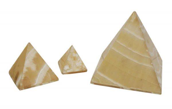 Set of Three White Onyx Pyramid Lights