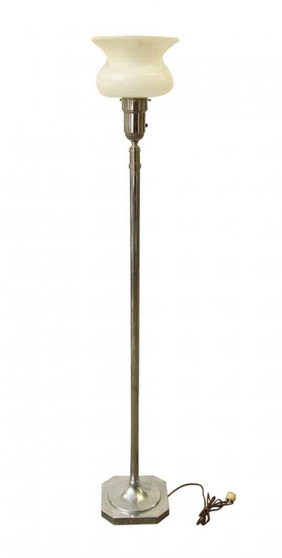 Nickel Floor Lamp with Milk Glass Shade
