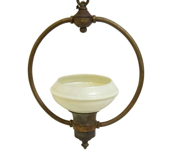 Brass Fixture with Milk Glass Shade
