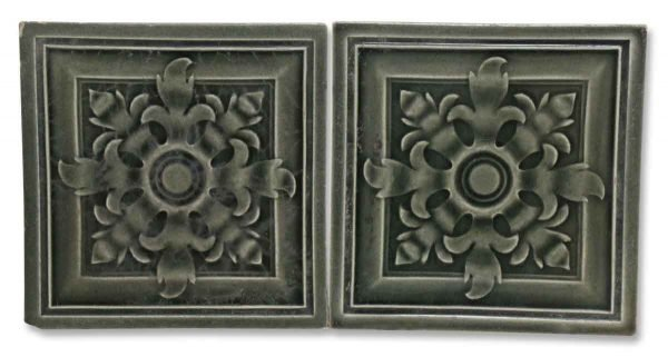 Pair of Dark Gray Ceramic Wall Tile