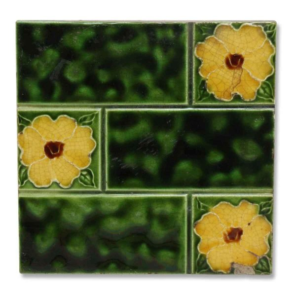 Green Ceramic Accent Tile with Yellow Flowers