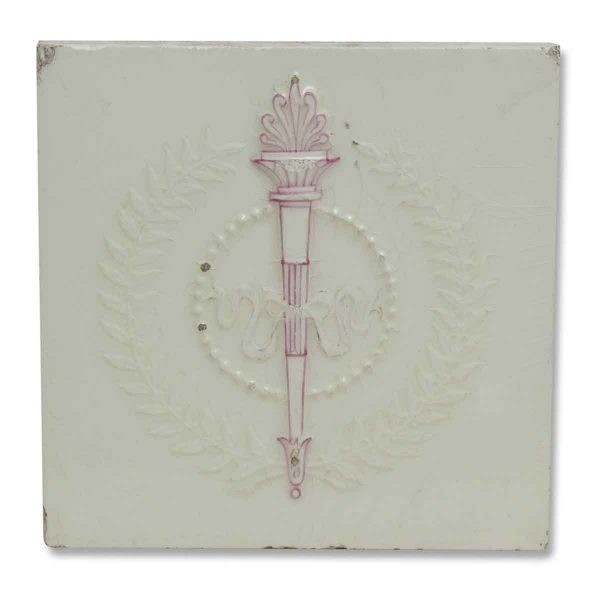 White Ceramic Tile with Pretty Pink Touch
